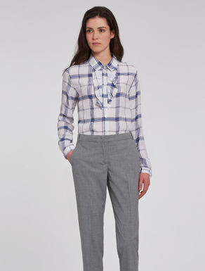 Flounced check shirt