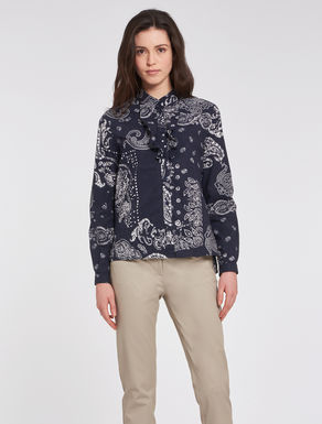 Flounced poplin shirt