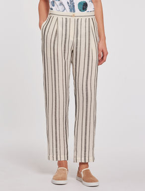 Striped cotton/linen trousers