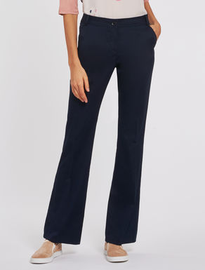 Kick-flare cotton trousers