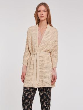 Fabric stitch knit maxi-cardigan