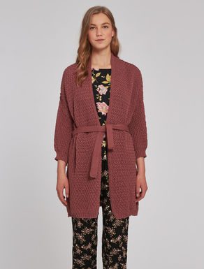 Fabric stitch knit maxi-cardigan