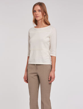 Slim-fit sweater with openwork stripes