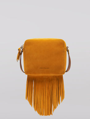Suede Boston bag with fringe