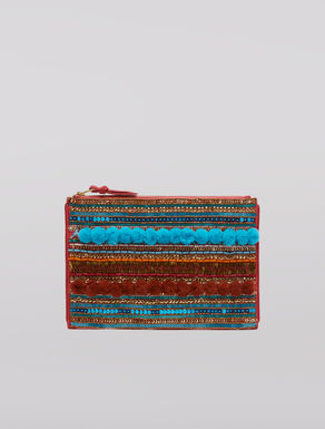 Jewelled clutch with pompoms