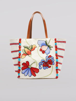 Shopper in canvas con pompon