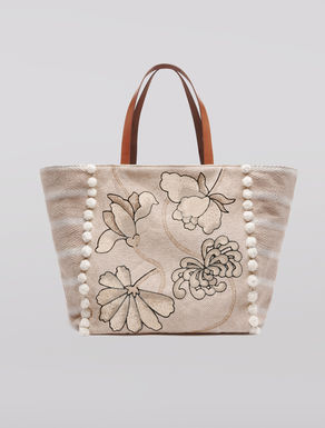 Canvas shopper bag with pompom