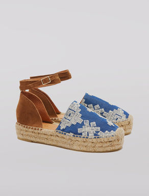 Fabric and leather espadrilles
