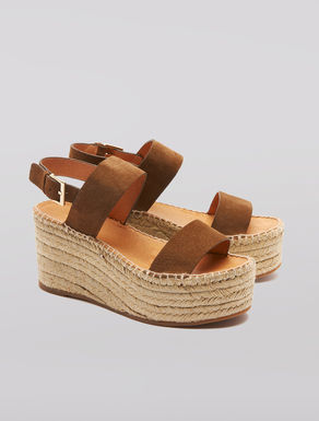 Leather and cord wedge sandals