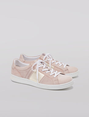 Laminated suede sneakers