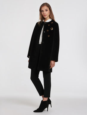 Beaver coat with bejewelled embroidery