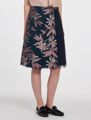 Floral jacquard and tulle skirt