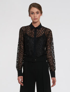 Tulle shirt with spotted embroidery