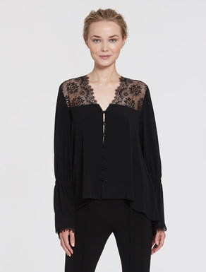 Crêpe shirt with lace