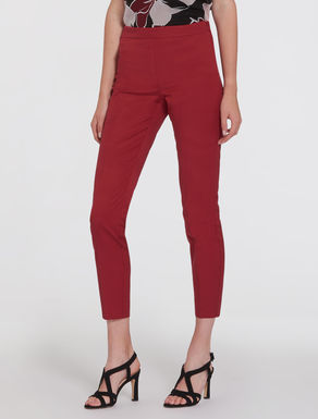 Cropped slim-fit faille trousers
