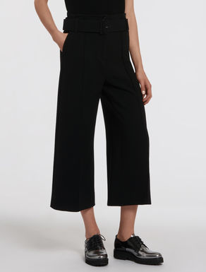 Wide stretch fabric trousers