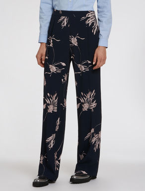 Floral crêpe trousers