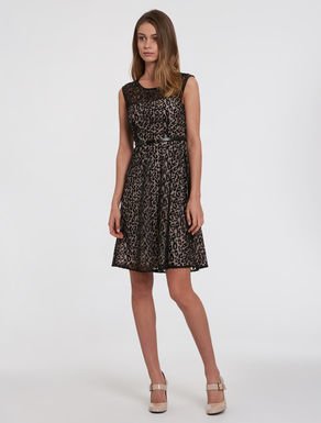 Tulle dress with spotted embroidery