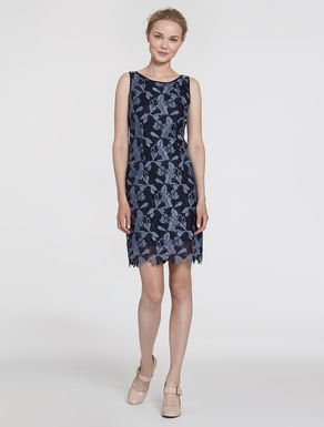 Floral macramé sheath dress