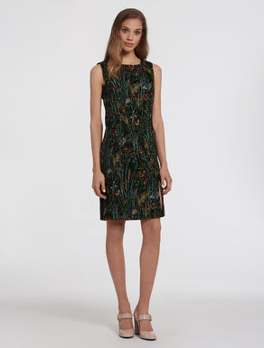 Floral gobelin sheath dress