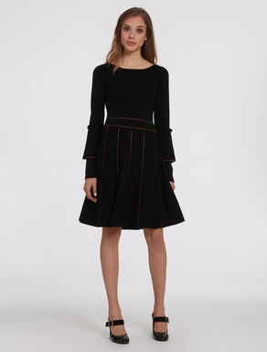 Knit dress with lamé lines