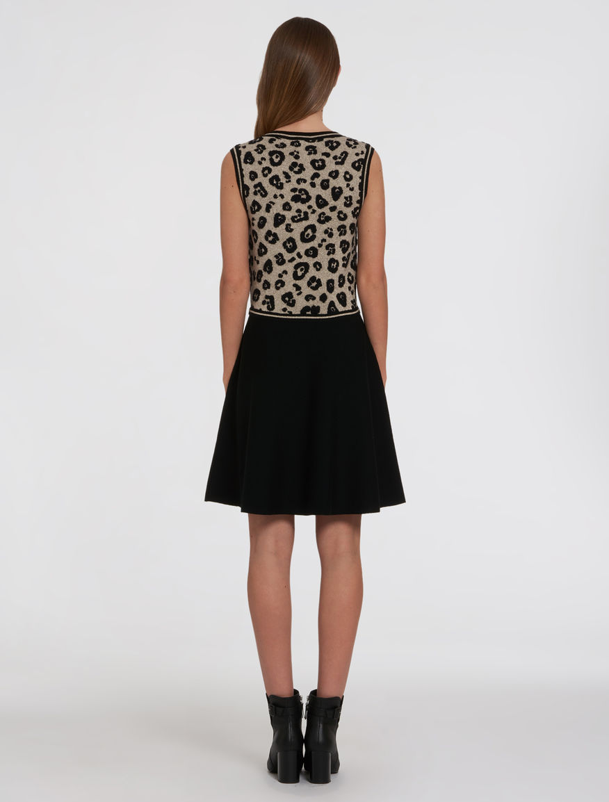 Knitted dress with animal print top black ombretta pennyblack ombretta bankloansurffo Image collections