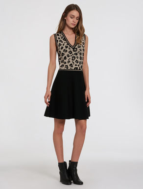 Knitted dress with animal print top