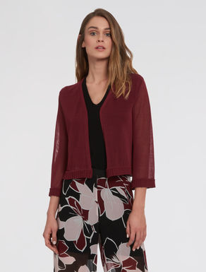 Cardigan with pleated flounce