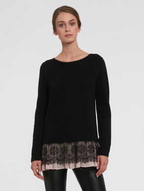 Sweater with lace flounce