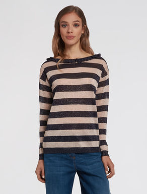 Lamé lined sweater with ruching