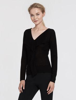Wool/silk sweater with flounce
