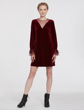 Velvet jersey and tulle dress