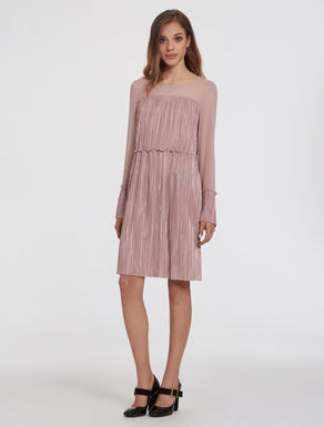 Pleated jersey and georgette dress