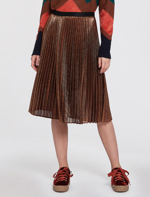 Pleated lamé jersey skirt