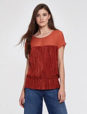 Blusa in jersey plissé e georgette