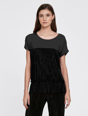Pleated jersey and georgette blouse