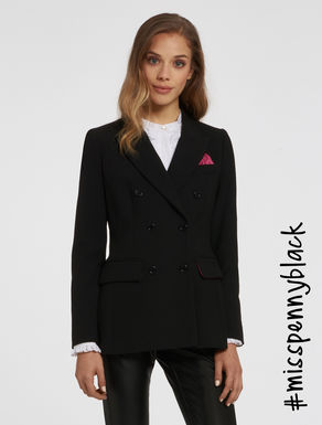 Double-breasted blazer with lining.