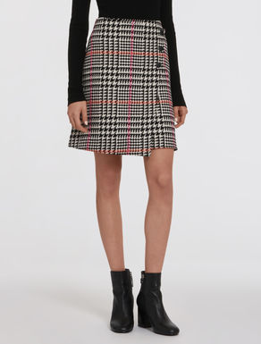 Prince of Wales tweed A-line skirt