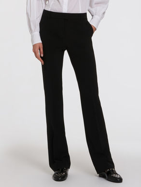 Technical fabric kick-flare trousers