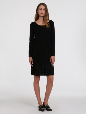 Knitted dress and pleated georgette