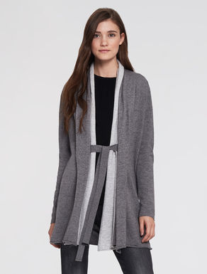 Cardigan with dual layer of lambswool