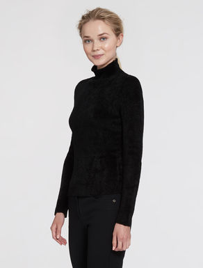 Stretch chenille polo sweater
