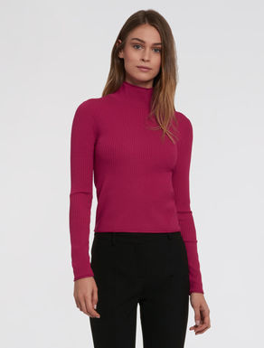 Stretch knit polo sweater