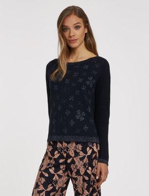 Floral lamé jacquard sweater