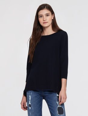 Sweater with pleated panel