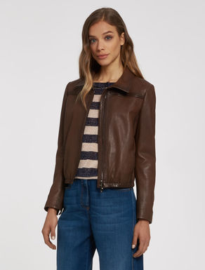 Leather blouse with zipper