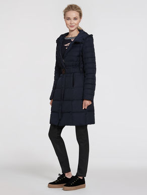 Slim-fit down jacket with belt