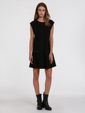 Milano-knit jersey A-line dress