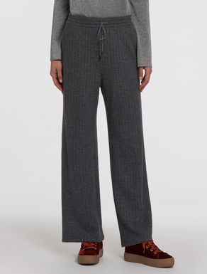 Wide pinstripe jersey trousers