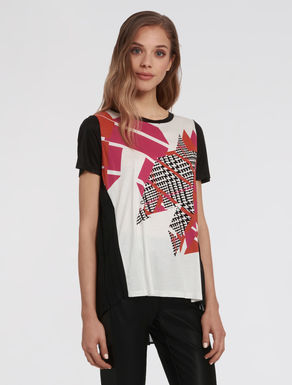 T-shirt in jersey e georgette